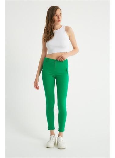 Robin Robin Dar Kesim Kumaş Pantolon Yeşil Yeşil